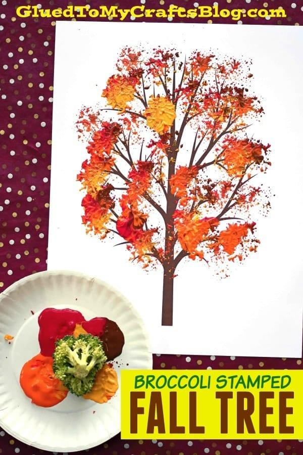 Árbol de otoño pintado con brócoli