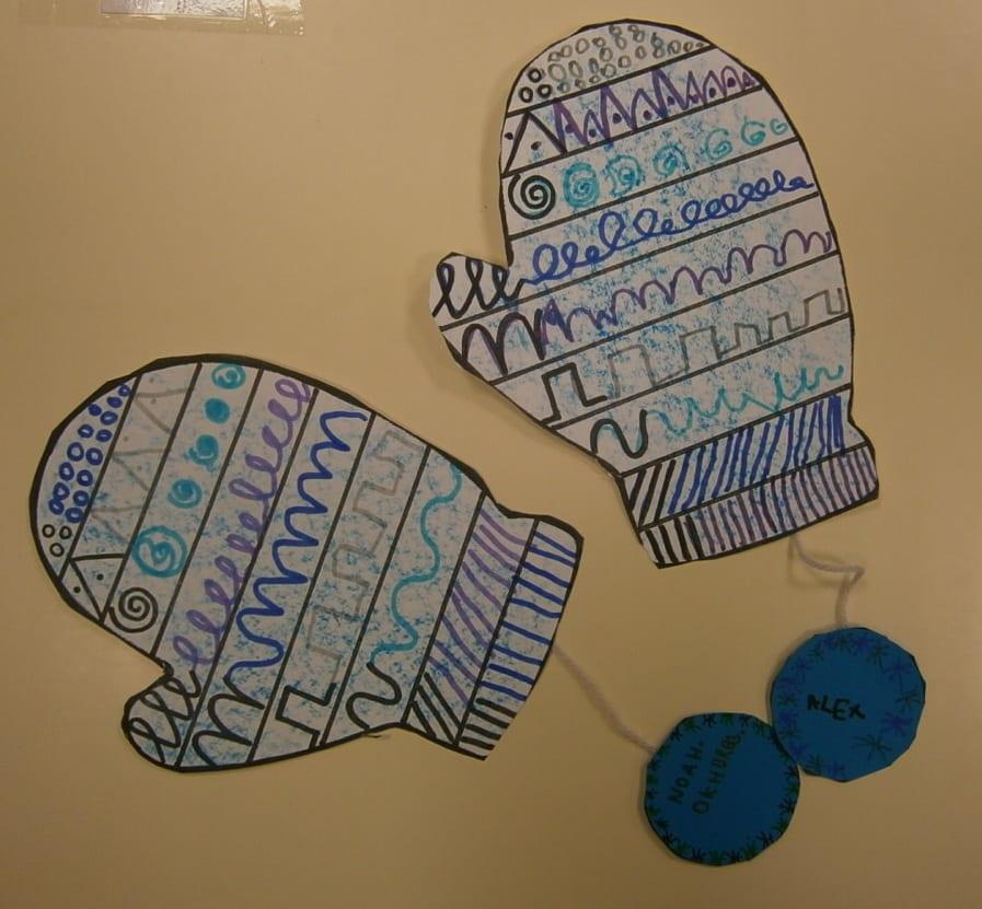 Guantes decorados: pre-lectoescritura invernal